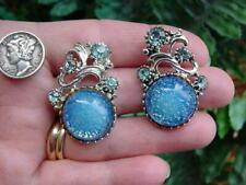 Vintage blue rhinestone and Lucite - GLITTER CONFETTI clip EARRINGS