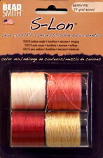S-LON, Bead Cord, 4 Color Mix, BERRY PIE, 5mm 3 Ply Bonded Twisted Nylon Cord