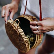 Boho Rattantasche Umhängetasche Rattan Bag rund Sommertasche handgefertigt Braun