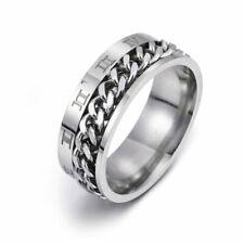 EDC Finger Fidget Spinner Stainless Steel Chain Rotatable Ring Men Rome Digital