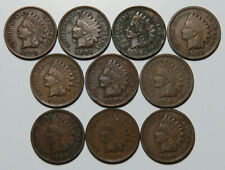 10 Coin Lot Indian Head Pennies Mixed Dates 1900-1908