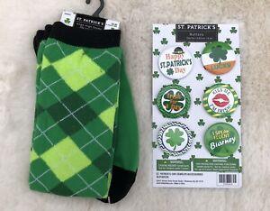 St. Patrick's Day Green Plaid Socks & 6 Festive Button Pins, NWT, Lucky, Irish