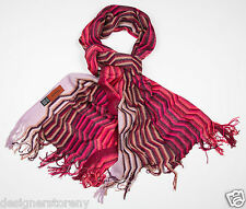 MISSONI Wool Shimmer Mini ZigZag Scarf in Pink SC32WMD3334 0001
