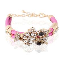 Pink PU Leather Shiny Gold Owl Rhinestones Charm Wrap Bracelet Bangle BB84