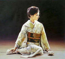 Nice Oil painting female portrait young Japan Japanese woman seated canvas
