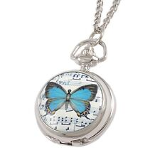 Blue Butterfly Print Hunter Round Case Necklace Pocket Watch T1