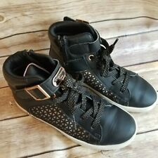 Sketchers Girls High Top Shoes Size 2.5 Black Gold Detail Side Zipper