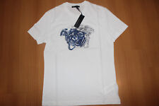 Versace Men's T-shirt White Gray and Blue Embroidered Medusa Size M