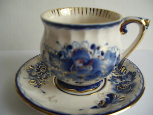 Coffe cup and saucer Russian Gzhel porcelain hand painted author signed #3