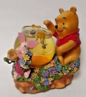 RARE! Disney WINNIE THE POOH & PIGLET Honey Pot Bees MUSICAL SNOW GLOBE Flawed