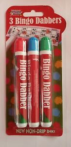 3 x Bingo Dabbers Marker Pens Mixed Colours - Non Drip Ink Dabbers set