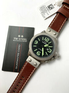TW Steel Watch * CS26 Canteen 50MM Automatic Black Dial Brown Leather NO BOX