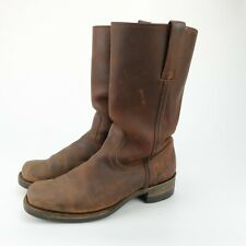 FRYE MENS SQUARE TOE MOTORCYCLE BROWN LEATHER BOOTS SIZE 8.5 M READ DESCRIPTION