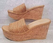 Stuart Weitzman Camel Laniard wedge sandals Minx Hoopla Halfday sz 8.5 NEW $385