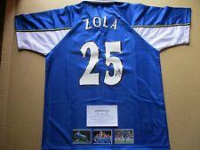 CHELSEA ITALY LEGEND GIANFRANCO ZOLA GENUINE SIGNED 1998 HOME SHIRT JERSEY - COA