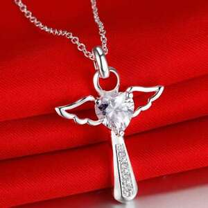 925 Sterling Silver Plated Crystal Cross Necklace Angel Guardian + Bag Womens UK