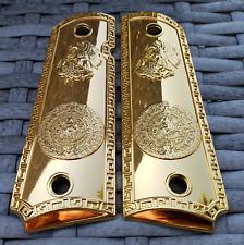 Custom 1911 Grips  Kimber Colt / ROCK ISLAND Frames Aztec Eagle 24K Gold Plated