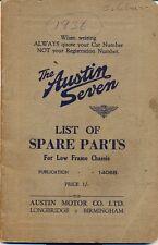 Austin Seven original List of Spare Parts 1936 ref.1406B