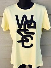 New WESC Logo Overlay Womens T Shirt Top Size Large L Yellow Short Sleeve Cotton