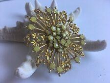 Vintage Creamy Yellow Citrine AB Brooch Rhinestone Sunburst Flower  🌼