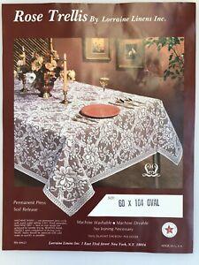 Vtg Lorraine Linens Rose Trellis Lace Tablecloth & Liner 60 x 104 Oval Ecru USA