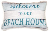 "PILLOWS - ""WELCOME TO OUR BEACH HOUSE"" THROW PILLOW - NAUTICAL DECOR"