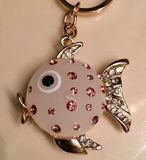 Fish Keyring Cute Rhinestone Crystal Charm Pendant Key Bag Chain Gift