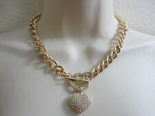 GUESS Chunky Chain Bracelet Rhinestone Heart Charm