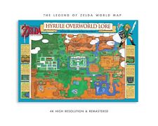 Zelda, Link To The Past World Map 13x19inch & Super Mario Bros POSTER WFoamBoard