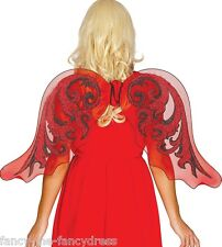 Ladies Red Glittery Bat Devil Gothic Halloween Wings Fancy Dress Costume Outfit
