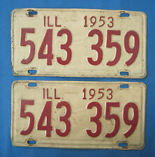 1953 Illinois License Plates matched pair
