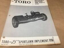 "toro 25"" sport lawn implement parts list,IPL ,antique tractor"