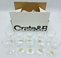 Crate & Barrel Set of 10 Monika Cordial Dessert Wine Glasses Stemmed Clear Glass