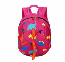Cartoon Baby Toddler Kids Dinosaur Safety Harness Strap Bag Backpack With Reins RoseRed