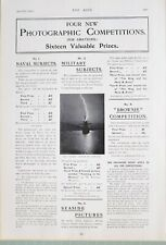 1903 Estampado Anuncio Amateur Fotográficos Competiciones Naval Militar Tema