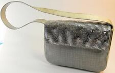 ESCADA Vintage 90s Handbag Purse Silver Leather Clutch Shoulder Swarovski Denim