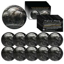 BUFFALO NICKELS Indian Head Full Date Genuine Coins BLACK RUTHENIUM (Lot of 10)