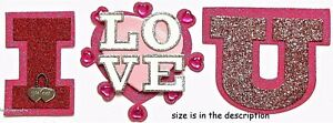 I LOVE U & Hearts Jolee's Boutique 3-D Gemstone Glitter Stickers
