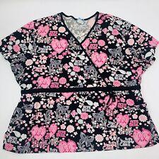 H.Q. Women's Scrub Top Sz 3XL Multi Color V-neck Ribbons & Butterflies Top