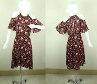 A.L.C. Emile Dress Pink Black Floral Silk Cold Shoulder Hi Low Hem 4