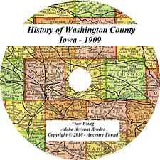 1909 History & Genealogy of Washington County Iowa  IA