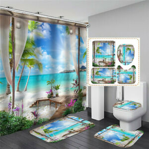 4PCS 180x180cm Beach Ocean Bathroom  Waterproof Shower Curtain Fabric Mat Floor