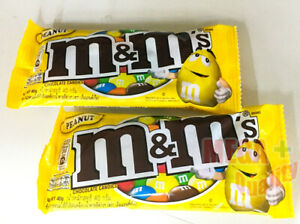 2 x M and M Chocolate Coated Peanuts Candies Melt In Mouth No Melt In Hand 40g