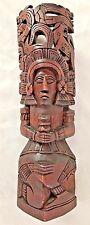 "Carved 12"" Wood Totem Man Figurine Art"