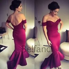 STUNNING OFF SHOULDER WINE MERMAID PEPLUM FISHTAIL MIDI DRESS SIZE 8 10 12 14