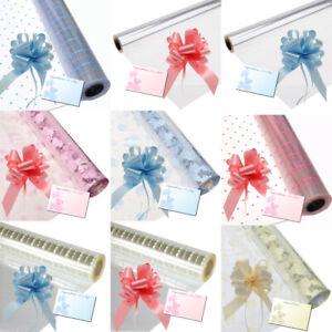 New Baby Boy Girl Cellophane Gift Wrap Shower Hampers + Pull Bow Ribbon & Card