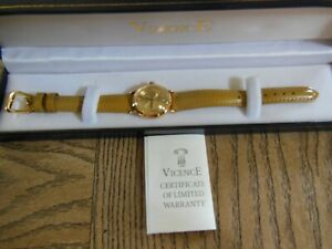 VICENCE 18K YELLOW GOLD ROUND WATCH WITH TAN LEATHER BAND - ITALY