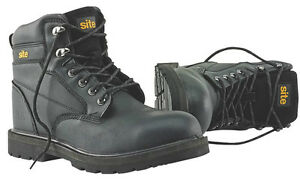 Site Rock Safety Boots Black - Padded Collar and Tongue - PURCHASE TODAY!!