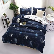 Planet Printed 4pcs Bed Cover Set Bed Sheets Pillowcases Comforter Bedding Set