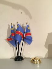CONGO DR TABLE FLAG SET of 3 flags and base